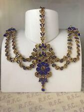 Gold blue headpiece matha patti tikka hijab boho grecian bridal hair chain prom