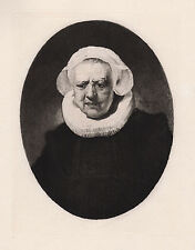 "Emotional 1800s REMBRANDT Antique Engraving ""Portrait of an Old Lady"" FRAMED COA"