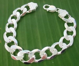 MADE IN ITALY 925 Sterling silver 13.4mm wide CURB 20.5 23 24cm BRACELET UNISEX