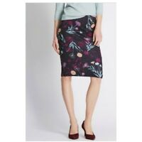Ex Marks and Spencer Black Floral Print Scuba Pencil Skirt