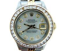 Rolex Datejust Ladies 14K Gold & Steel Watch White MOP Dial 1.50ct Diamond Bezel