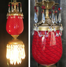 1 Swag lamp Faberge Egg Inspire Vintage Murano Ruby Red Glass Brass tole crystal