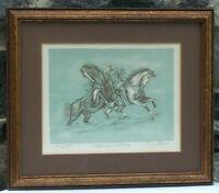 "Mid Century Lithograph ""Stallion Apres Delacroix"" Signed Enrico Molino"