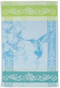 Hummingbird Jacquard Tea Towel Turquoise Green Luxury Kitchen Towels Wall Art