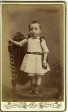 PROUZET PARIS portrait enfant debout sur une chaise robe CDV photo circa 1890