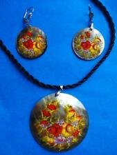 Necklace Pendant Earrings Flowers Zhostovo Mother of Pearl Russian Hand Painted