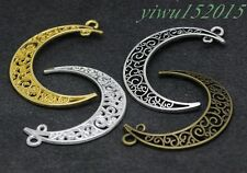 Tibetan silver charm pendant curved moon fit DIY Necklace earrings 6-100pcs