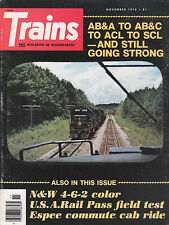 TRAINS 11/76 NORFOLK & WESTERN 4-6-2, AB&C AB&A ACL SCL, AMTRAK, DIESELS, STEAM