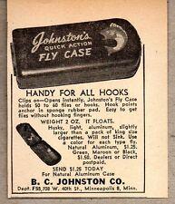 1947 Print Ad Johnston's Fly Fishing Case Lures,Hooks BC Johnston Minneapolis,MN