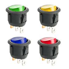 4PC ON/OFF Round Rocker Switch LED illuminated Car Dashboard Dash Boat Van 12V