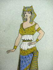 André Borrel (?) Egypte antique Egyptienne en costume Cléopatre Dessin original;