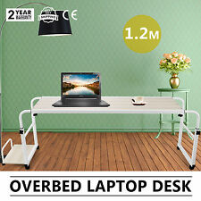 Home Rolling Adjustable Laptop Computer Desk Table Over Bed Storage Furniture