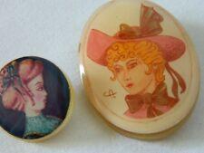 VINTAGE lot 2 broches brooch femme au chapeau résine moulée art nouveau 1970 70s