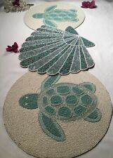 New listing New Coastal 3 Pc Beaded Table Runner Sea Turtles & Scallop shell in Pastel Tones