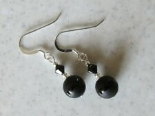 Frosted Black Onyx Stripe Earrings With Swarovski Crystals & Sterling Silver