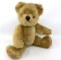 Pedigree English Teddy Bear 1960s Gold Mohair Plush 12in Jointed Rexine Pads Vtg