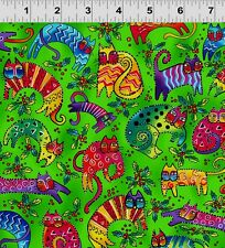 ENCHANTMENT Cats Green Laurel Burch Quilt Fabric by 1/2 yard 1963-21