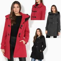 Womens Fur Hood Parka Ladies Duffle Trench Coat Toggle Winter Jacket