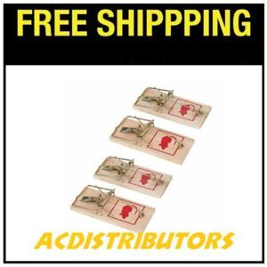 4 x Wooden Mouse Mice Trap Reusable Rodent Bait Traps - FREE SHIPPING