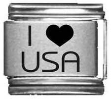 Clearly Charming I Heart USA Laser Italian Charm