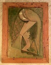 Fine Original Mid Century American Cubist Plaster Bas Relief Wall Plaque~RARE
