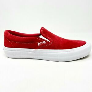 Vans Slip On Pro (Suede) Red White Womens Casual Skate Shoes