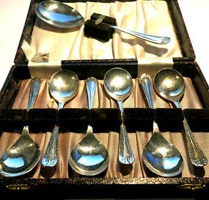 Antique SHEFFIELD EPNS Set of 6 x Dessert Spoons & Serving Spoon England