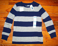 New! Boys OLD NAVY Gray & Blue Cotton Stripe Long Sleeve Thermal Shirt Size 5T
