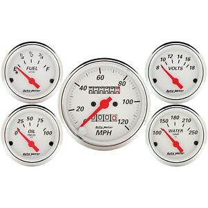 "AutoMeter Gauge KIT, 5 PC., 3 1/8"" & 2 1/16"", MECH. SPEEDOMETER, ARCTIC WHITE"
