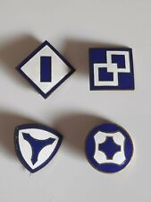 Lot de 4 crest de calot 1st 2nd 3rd 4th US service Command WWII - 100 % ORIGINAL