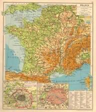 France 1930 Original Antique Colour Map Inset Paris