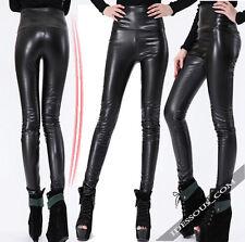 Sexy Legging Brillant Noir Cuir Look Leggings High Waist Pantalon XS S 34 36 38 NEW