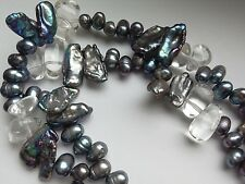 Double Strand Freshwater Grey Pearl and Crystal Necklace, 17.5 in long