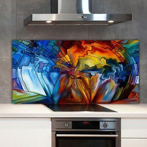Kitchen Splashback Toughened Glass 140x70 Stained Glass Pattern artistic decor