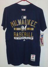 Men's MAJESTIC Milwaukee Brewers Baseball Collection Triple Peak T-shirt Size S
