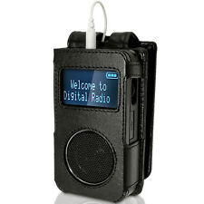 Black Genuine Leather Case Cover for Roberts Sports Dab 3 Radio With Belt Clip