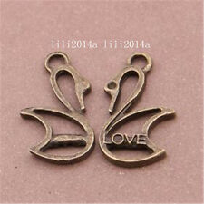 20pc Bronze Antique Amour animal Charmes Pendentif Cygne accessoires conclusions pl975
