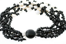 White Coin Freshwater Pearl & Black Onyx 5-Strand Necklace w/Sterling Clasp