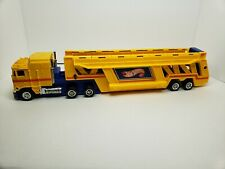 Vintage 1986 Satten Lehmann Hot Wheels Semi Truck & Trailer Car Hauler Case