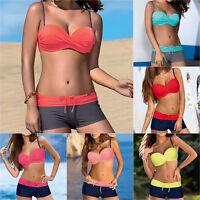 Damen Brasilien Push Up Bikini Set Boxershorts Gepolsterter Bademode Badeanzug