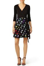 $598 Diane von Furstenberg Jewel Daisy floral silk wool flare wrap dress US 4