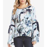 KAREN KANE NEW Women's Multi Floral Print Tie Sleeve Blouse Shirt Top TEDO