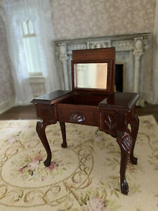 Vintage Miniature Dollhouse Artisan Cherry Wood Vanity With Flip Top Mirror