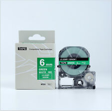 EPSON Compatible LC-2GWP Label Tape White on Green 6mm 8m LW300 LW500 1/4 x 26""