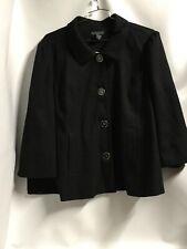 Dialogue Womn's 3X Black Textured Design Button Down 3/4 Slvs Lined Jacket. B71