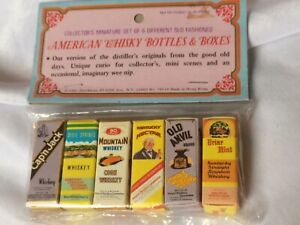 Miniature American Whiskey Bottles and Boxes. 1981 Shackman NY