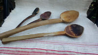 ANTIQUE PRIMITIVE OLD HAND CARVED WOODEN SPOON PADDLE DARK PATINA LOT of 4