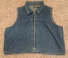 Woolrich Full Zip Sleeveless Indigo Blue Denim Jeans Biker Vest Womans SZ Large