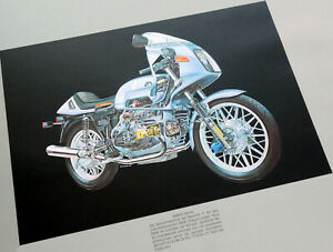 BMW Classic R Series 100 RS Motorcycle Accessory Technical Graphic Art Poster