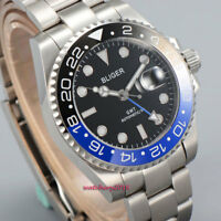 43mm BLIGER Schwarz batman Bezel GMT Saphirglas Datum Automatisch Armbanduhren